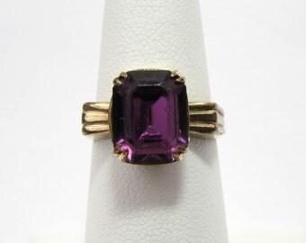 Vintage Uncas 10k GF ring - amethyst stone - 1940s - size 6