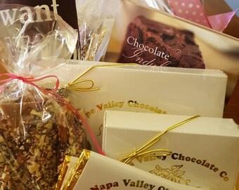 Gifts for Her, Chocolate Gift Box, Chocolate Truffles, Wine Truffles, Dark Chocolate Bars, English Toffee, Dark Chocolate, Hostess Gift