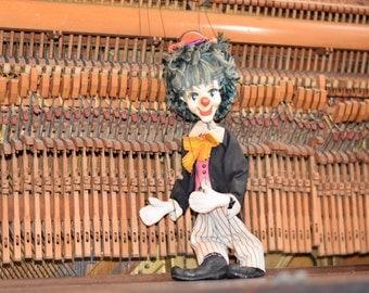 Clown marionette, clown puppet, vintage clown, rare clown, toy clown, vintage toy clown, old clown, porcelain clown