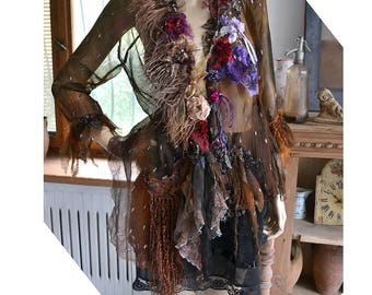 Reserved Feminine Victorian Lady  Brown/Rusty Floaty Transparent Jacket  Marabou Branches  ROSES OF COURSE  Twenties Gothic Tattered