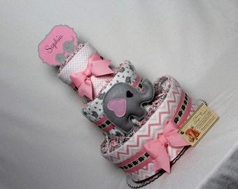 Baby Diaper Cake Elephants Pink Gray Shower Gift Centerpiece Girls