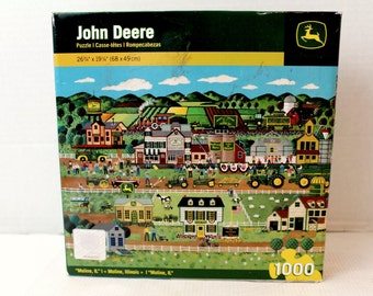 John Deere 1000 pc Puzzle Moline Illinois Farm Theme green tractor
