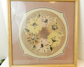 Vintage framed punch needle doily wall decor SOLD AS IS