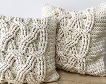 CROCHET PATTERN, Chunky Cabled Pillow Pattern, Crochet Pillow Pattern, Pillow Cover Pattern, Crochet, Pattern, Pillow Pattern, Patterns
