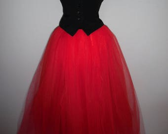 womens tulle tutu skirt red 4 6 8 10 12 14 16 S M L maxi wedding petticoat goth gypsy adult long lined cosplay slip bridesmaid full length