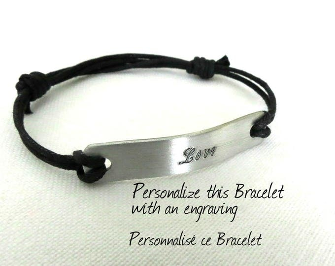 Unisex Engraved Bracelet, Personalized Bracelet, Adjustable Bracelet, Rustic Bracelet, Bracelet for Men, Gift Idea, Gift Box Available