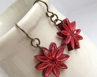 Red Ombre Nine Pointed Star Earrings Eco Friendly Earrings Paper Quilling bridesmaid gift Baha'i Jewelry Hypoallergenic