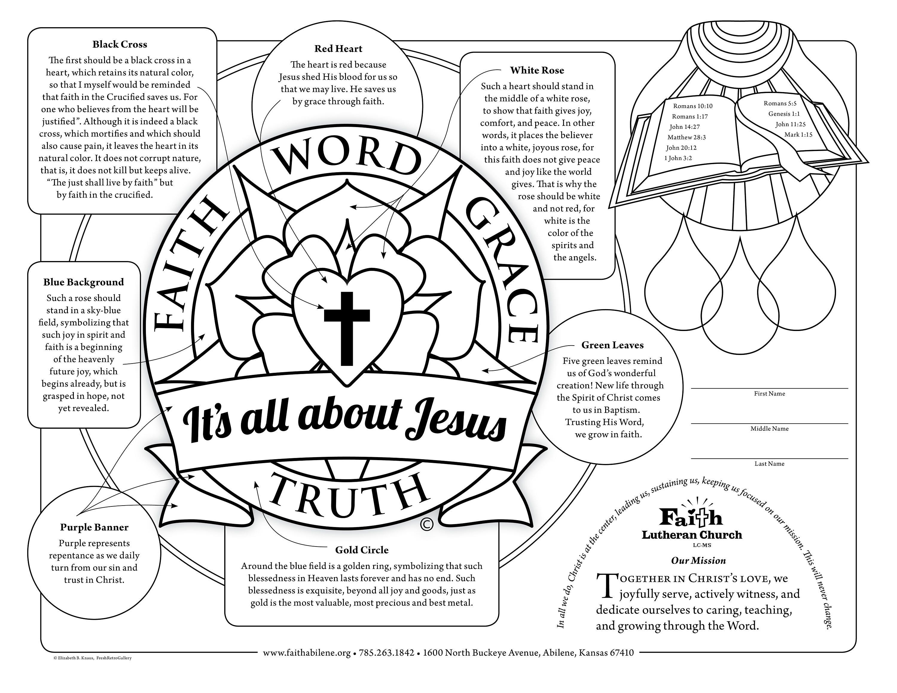 Lutheran art to print gifts men women share faith word for Martin luther s seal coloring page