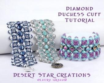 Diamond Duchess Cuff Bracelet Tutorial, Beadweaving Pattern, Two Hole Modified RAW PDF Instructions, Silky Bead, DiamonDuo Czech Bead