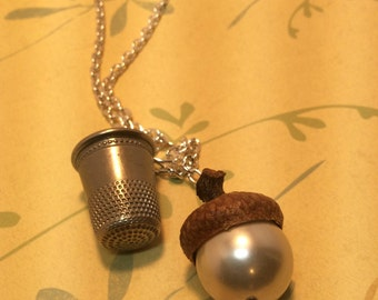 Peter Pan And Wendy Kiss Necklace. Acorn And Thimble Necklace