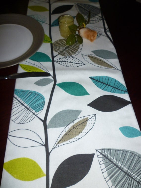 120 long table runner 10 foot teal blue green retro for 12 ft table runner