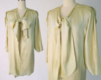 1920s Silk Lord & Taylor Coat / Light Chartreuse Flapper Coat