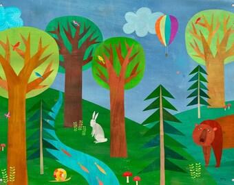 Forest Adventure // Canvas Art Print // Woodland Themed Nursery