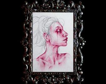 Original 4x6 Post Card Crimson Magenta Watercolor Oil Colored Pencil Study 5