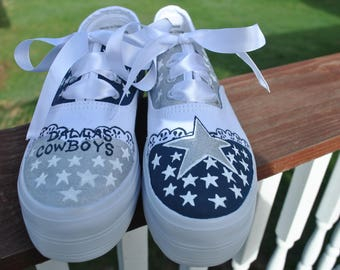 FOR SALE - Custom Hand Painted Dallas Cowboys size 7 platform sneakers -  For Sale