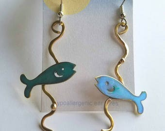 Fish earrings,summer accessories,nature jewelry ,teal color, ocean jewelry, beach jewelry, handmade earrings, metal jewelry,  gift ideas