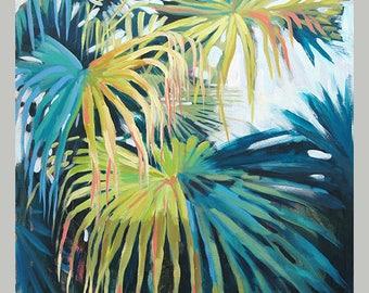 Original Palm Tree Art, Original Tropical Plant Art, Luxury Palm Tree Home Decor, Tropical Leaf Wall Art, Painting Of Palm Tree