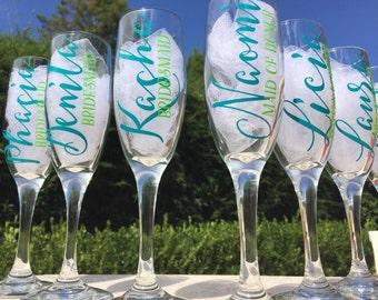 Set of 9, Personalized bridesmaid champagne glasses, personalized champagne flutes, wedding champagne glasses
