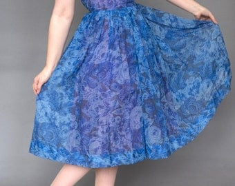 Blue floral 50s chiffon party dress small S