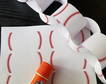 Printable Baseball Chain Banner on 8x11 300 dpi Sheet