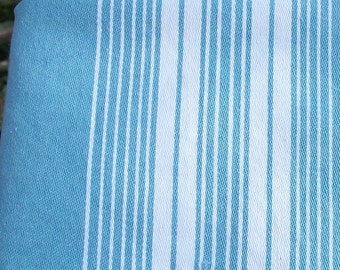 Vintage French  ticking rare woven colour stripes light turquoise blue linen