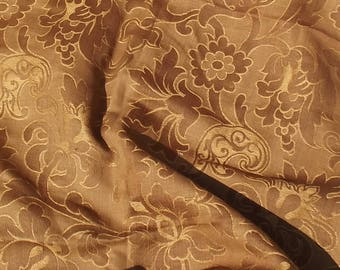 Antique French Fabric Panel Copper Bronze Caramel Brocade Curtain Drapes