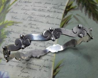 Ana Nunez Brilanti Signed VICTORIA Sterling Silver 925 Taxco Mexico Wave Bangle Bracelet   OM9