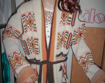 70s Hippie Hipster Belted Tribal Sweater Coat LARGE