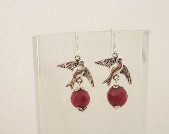 Ruby Earrings, Earrings in Red, Gemstone Earrings, Birds Earrings, Sterling Silver Earrings