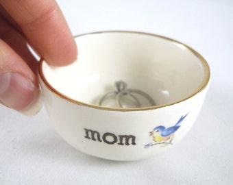 handmade Gold Rim Ring dish blue bird handprinted mom-gift for mom on Christmas, mom's birthday gift baby shower gift, mother of the bride