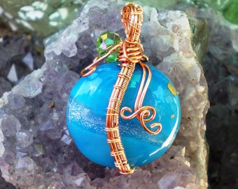 Handmade Lampwork and Wire Wrap Pendant in Turquoise