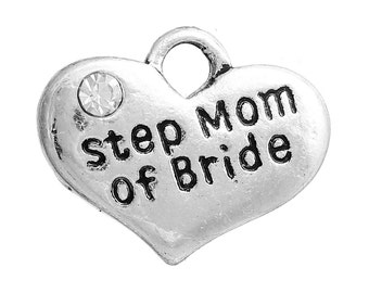 """1 or 2 or 4 pcs. Antique Silver """"Step Mom of Bride"""" charm with rhinestone- 17mm X 13mm"""