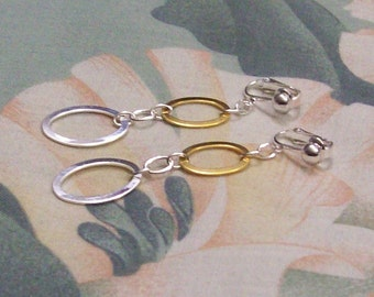 Clip on or Pierced Gold and Silver Double Dangle Earrings