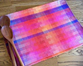 Gourmet Kitchen, Dish Towel, Loom Woven Towel, Guest Towel, Woven Hand Towel, Artisan Made Towel, Handwoven Tea Towel, Rainbow Blocks #11