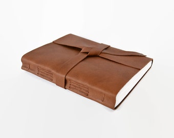 LINED Leather Journal, Handmade Leather Notebook, Travel Journal, Writing Journal, Personalized with Initials, Cognac Brown Large 6x8