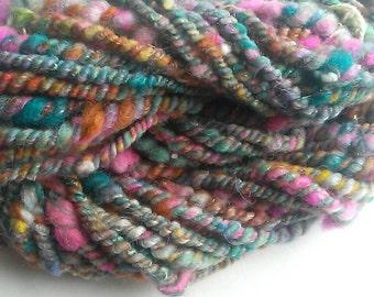Hand-spun art yarn, bulky, two ply, 17 yards