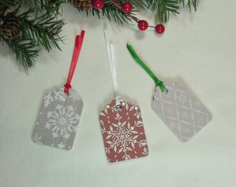 Christmas Gift Tags, Holiday Gift Tags, Snowflake Gift Tags, Red and Cream Gift Tags,