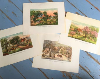 Vintage Currier & Ives Print American Homestead Lot of 4 Spring Summer Autumn Winter