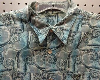 VINTAGE 1980's Men's Jhane Barnes Blue Gray Print Shirt (available)