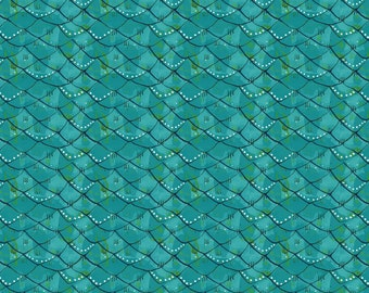 Mermaid Days - Scalloped in Turquoise by Cori Dantini for Blend Fabrics