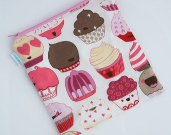 Zookaboo Reusable Food Bags - Zero Waste Bags - Cupcake Bags - Cloth Sandwich Bag - Birthday Gift for Girls - Handmade in Three Sizes