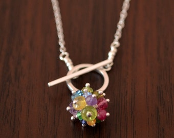 Rainbow Toggle Necklace, Sterling Silver, Real Gemstones, Colorful Jewelry, Garnet Tourmaline Peridot London Blue Topaz, Free Shipping