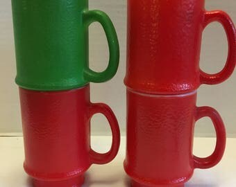 Vintage 5 Milk Glass Painted Anchor Hocking Fire King Federal Coffee Mugs Red and Green D Handle Texture