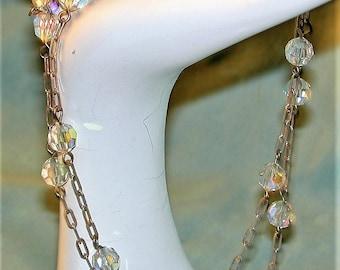 Vintage Aurora Crystal & Chain Necklace