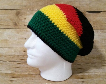 Rasta Hat, Rasta Tam, Striped Rastafarian Slouchy Beanie, Ethiopian Flag Colors, Zimbabwe Flag Colors, Ghana Flag Colors, Rasta Slouch Hat