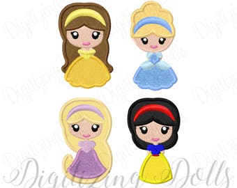 "Princess Feltie Set - Belle Cinderella Rapunzel Snow White Applique Machien Embroidery Designs 2.5"" Hair Felties Clippie INSTANT DOWNLOAD"