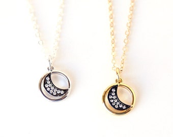 Dainty CZ Pave MoonCircle Necklace // Sterling Silver // Gold // Simple Everyday Layering Jewelry