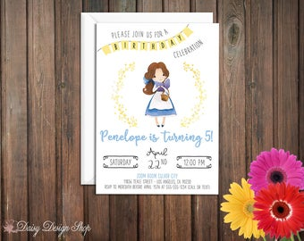 Birthday Party Invitations - Village Belle and Laurel in Watercolor Style - Beauty and the Beast - Set of 20 with Envelopes
