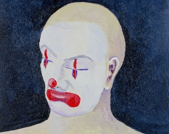 DYLAN - Contemporary Acrylic Painting on Cradled Wood - Clown, Sad, Bald, Minimal, Portraiture