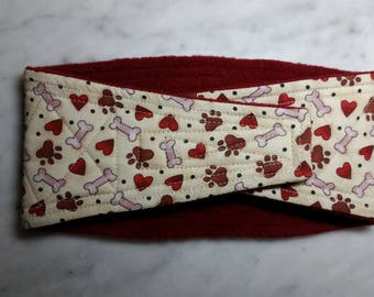 Belly Band Waist 15.75 x Width 4.00 inches Male Dog Wrap Diaper Belt by SewDog 3 Layers Quilted Padded Wrap #023 BONES HEARTS